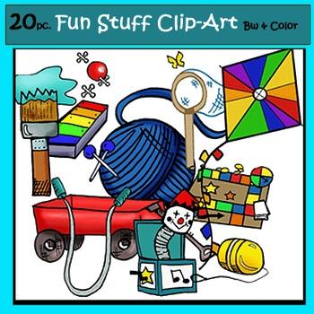 Fun Stuff Clip-Art Set: 10 B&W, 10 Color