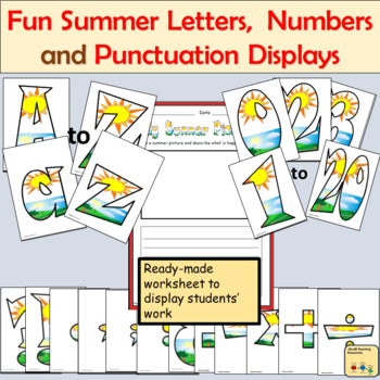 Fun Summer-Themed Alphabet Lettering Numbers, Math Signs and Punctuation Symbols