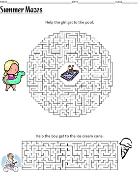 Fun Summer Worksheets - Acrostic Poem Writing, Word Search, and Mazes