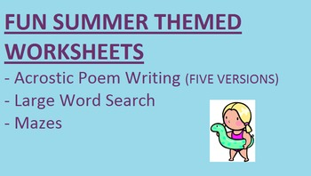 Fun Summer Worksheets - Acrostic Poem Writing, Word Search