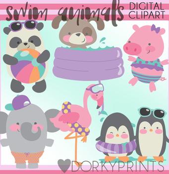 Fun Swim Animals Clipart