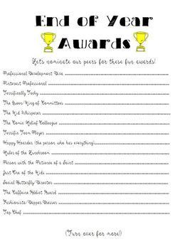 Fun Teacher/Staff Awards