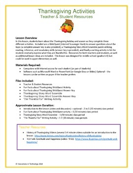 Fun Thanksgiving Activities & WebQuest