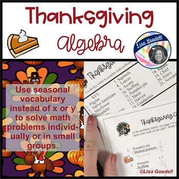 Fun Thanksgiving Algebra Printable