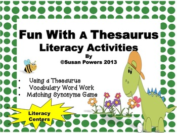 Fun Thesaurus Literacy Center Activities