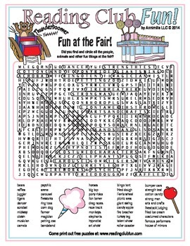 Fun Things at the Fair Word Search Puzzle