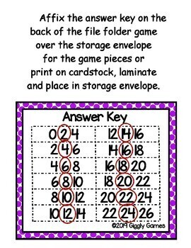 Giggly Games Fun & Treats Skip Counting by 2 File Folder Game