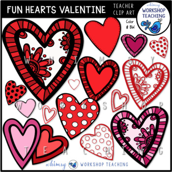 Fun Valentine Hearts Clip Art - Whimsy Workshop Teaching