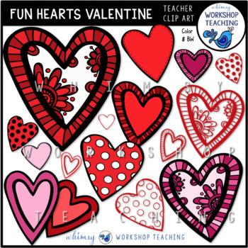 Fun Valentine Hearts Clip Art - Whimsy Workshop Teaching