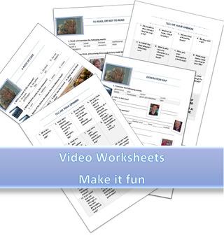 Fun Video Worksheets (5 worksheets for 5 Jimmy Kimmel talk show episodes)