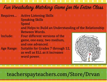 Four Fun Vocabulary Matching Games for the Entire Class
