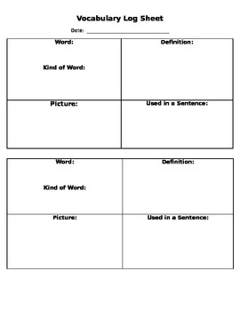 Fun Vocabulary Word Log Sheet