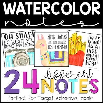 Fun Watercolor Desk Notes - TARGET ADHESIVE LABELS - Desk Notes