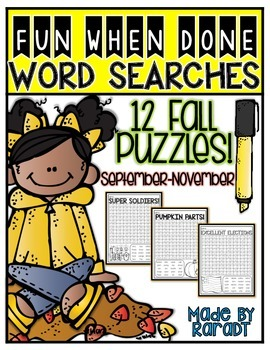 Fun-When-Done Word Searches {Fall Puzzles}