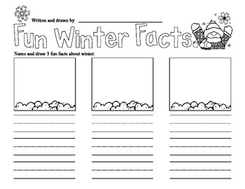 Fun Winter Facts Writing Prompt Common Core Aligned 1st Grade