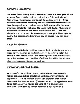 Fun Winter Math Facts Activities