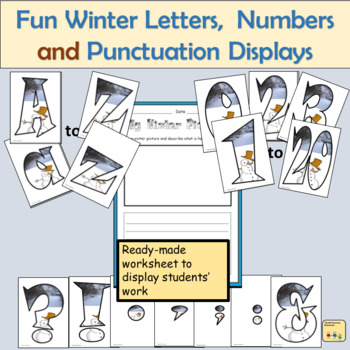 Fun Winter-Themed Alphabet Lettering Numbers and Punctuation Symbols