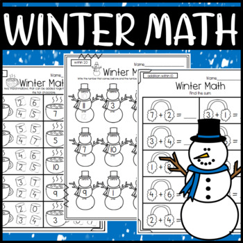 Fun Winter Math Worksheets: Addition, Subtraction, Before and After, Counting +
