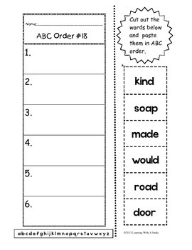ABC Order (to the 1st letter) – Cut and Paste Literacy Center Activity