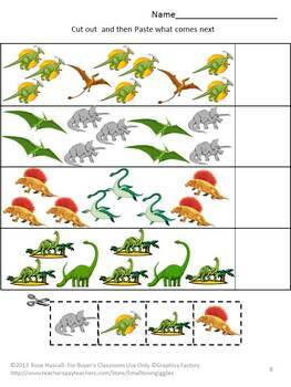 dinosaurs kindergarten special education autism cut and paste fine motor. Black Bedroom Furniture Sets. Home Design Ideas