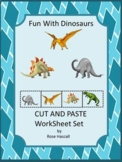 Dinosaurs Kindergarten Special Education Autism Cut and Pa