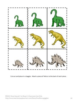 Dinosaurs Math and Literacy File Folder Games Special Education Autism