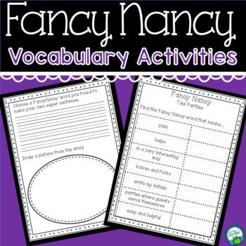 Fun With Fancy Nancy Words- Vocabulary Activities