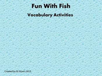 Fun With Fish Vocabulary Unit