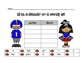 Fun With Football Letter/Word Sort
