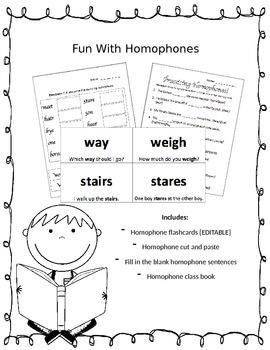 Fun With Homophones {EDITABLE}