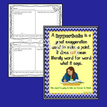 Fun With Hyperboles Task Cards and Anchor Chart