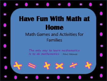 Parent Handout Fun With Math at Home
