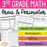 3rd Grade Area and Perimeter Unit   Print and Digital for Distance Learning