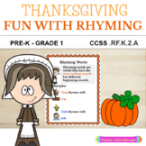 CVC Rhyming Fun: Thanksgiving Theme Worksheets