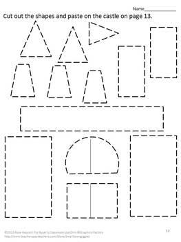 Geometry Shapes Activities Black Line Cut & Paste Kindergarten Fine Motor Set 1