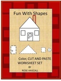Geometry Shapes Activities Black Line Cut & Paste Kinderga