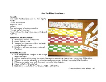 Fun With Sight Words - Sight Word Skate Board Game