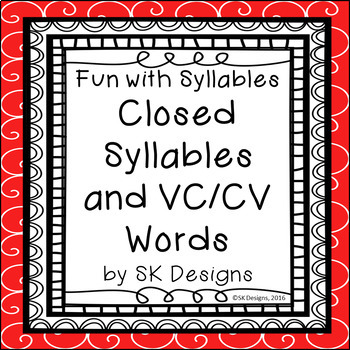 Syllables Closed VCCV Fluency Practice w Flash Cards & Fun Game Printables