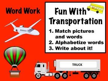 Fun With Transportation Word Work