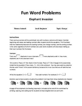 Fun Word Problems - Change Problems