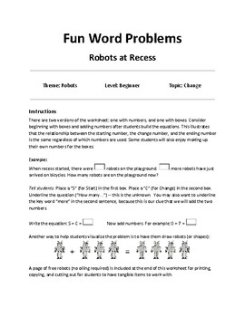 Fun Word Problems - Change Problems - Robots at Recess