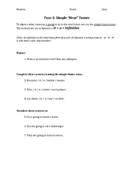 Fun Worksheet; the Verb Ir, Future Ir + a + Infinitive + Song Lyrics Activity