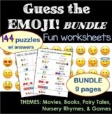 Fun Worksheets BUNDLE - Guess the Emojis (144 puzzles)