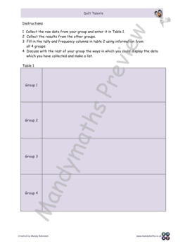 Fun Worksheets - Daft talents - Group Work