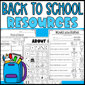 Fun Worksheets and Partner Activities for the first week of school!