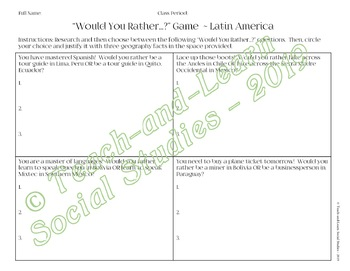 """Fun """"Would You Rather...?"""" Activity -- Latin American Geography"""