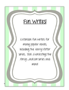Fun Writes! Writing extension tasks for novels