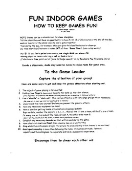 Fun and Easy Indoor Games