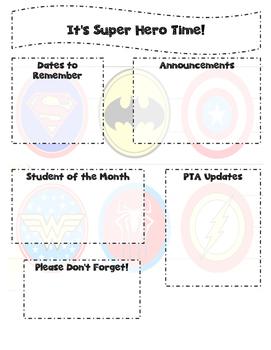 Fun and Editable Super Hero Newsletter