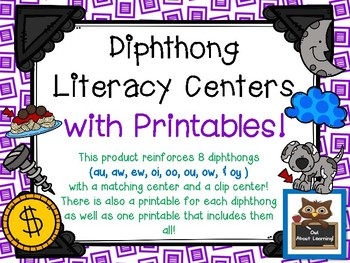 Fun and Engaging Diphthong Literacy Center Activities with Printable Activities!